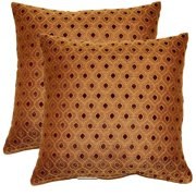 FHT Glimpse Cocoa 17-in Throw Pillows (Set of 2)