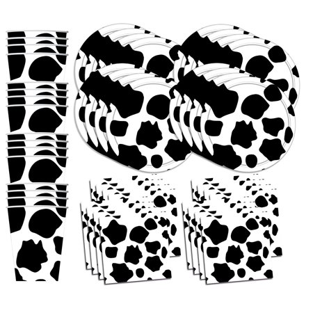 Cow Print Plates And Napkins (Cow Print Birthday Party Supplies Set Plates Napkins Cups Tableware Kit for)