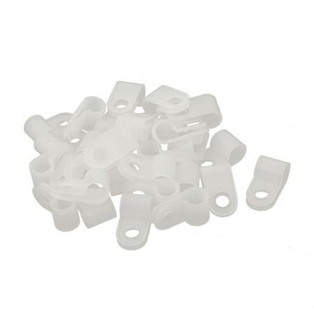 "30Pcs Nylon R Type CC-1 1/4"" Cable Cord Wire Clamp Clip Fastener White - image 2 of 2"