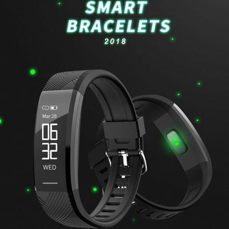 Waterproof Bluetooth Fitness Tracker Smart Bracelet Heart Rate Wristband Watch Alarm Clock Step Counter Sports Sleep Monitor(Black) (Rare Counter)