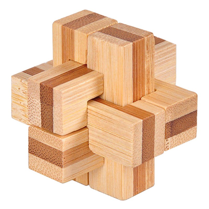Wooden Kongming Lock Brain Teaser Puzzle Adults Children Educational Game Toy XS