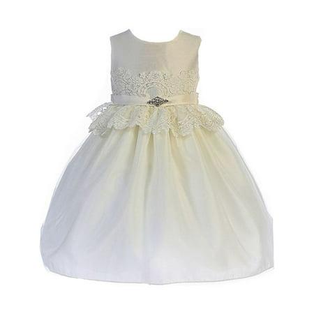 Crayon Kids Little Girls Ivory Lace Peplum Brooch Flower Girl Dress](Crayon Dress)