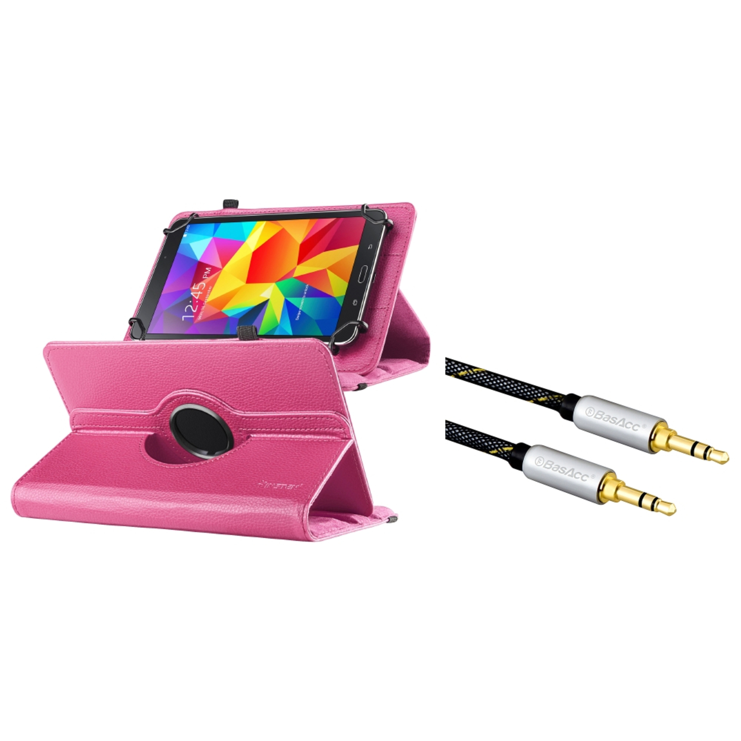 "Insten Universal Hot Pink 7"" Tablet Leather Case with Stand (+ 3.5mm Aux Auxiliary Audio Stereo Extension M/M Cable)"