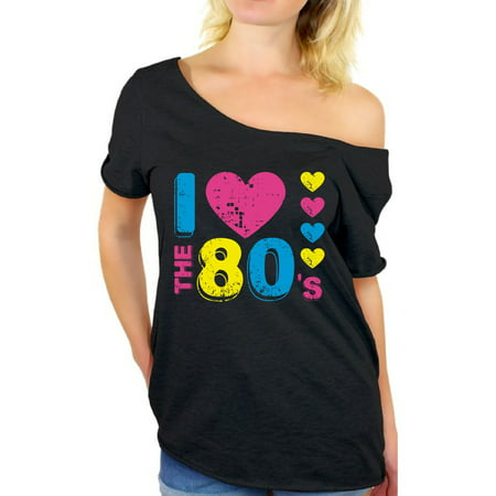 Awkward Styles 80s T-shirt Off Shoulder Baggy 80s Costumes Party 80s Tops I Love the 80s Shirt 80s Rock T Shirt 80s Party Girl Shirt 80's Off the Shoulder Shirt 80s Theme Shirts - I Party Costumes