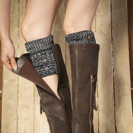 Uccdo 1 Pair Women Short Boots Cuffs Winter Crochet Cable Knitted Leg Warmer Topper Socks Cable Boot Cuffs