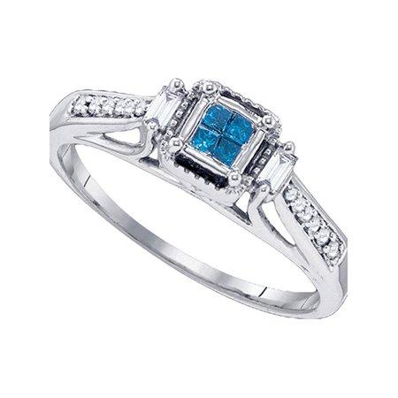 10kt White Gold Womens Princess Blue Color Enhanced Diamond Bridal Wedding Engagement Ring 1/5 Cttw - April Wedding Colors