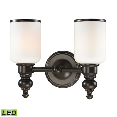 New Product ELK Lighting The Bristol Way 2 Light LED Vanity In Oil Rubbed Bronze And Opal White Glass 11591/2-LED Sold By