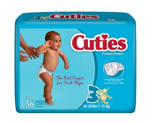 Cuties Baby Diaper Size 3 Fits 16-28Lbs-Pack of 36