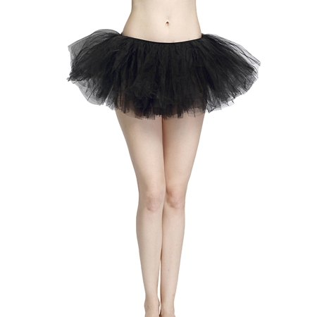08249c3d8 Black Adult Size 5-Layer Tulle Tutu Skirt - Princess Halloween Costume,  Ballet Dress, Party Outfit, Warrior Dash/ 5K Run - Walmart.com