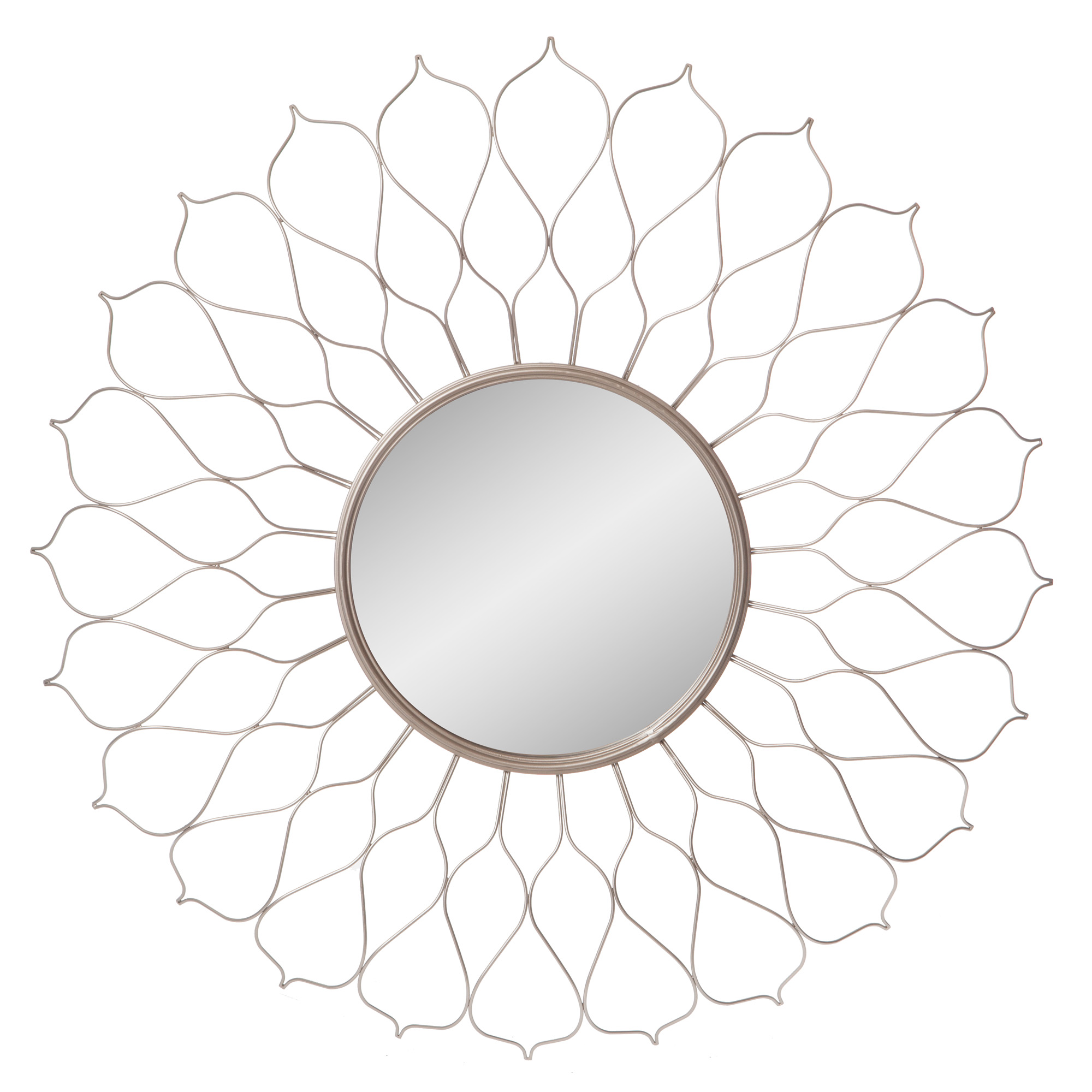 Silver Round Flower Petal Sunburst Wall Accent Mirror 38 X38 By Patton Wall Decor Walmart Com Walmart Com