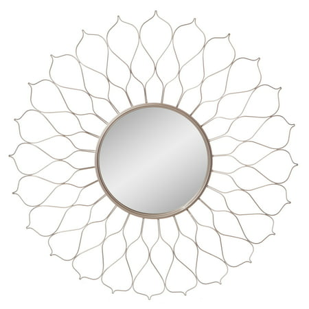 Silver Round Flower Petal Sunburst Wall Accent Mirror 38