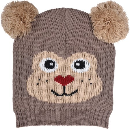 Toddler's Cute Animal Face Knit Beanies with Pom Ears in 5 Great -