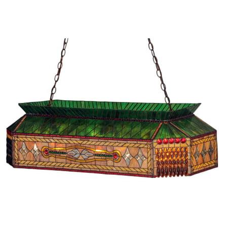 Stained Glass Billiard Light Shade - Meyda Tiffany 50159 Gold Fringe 9 Light 40