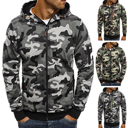 wholesale dealer 69ca4 d7b34 Mens Camo Camouflage Hoodie Hoody Green Army Hooded Jumper Jacket Pullover  M-3XL