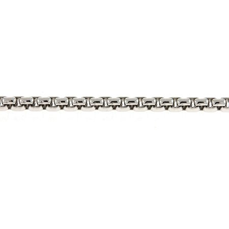 Sterling Silver Venetian Box 2.7mm White Rhodium Plated Necklace - Length: 18 to 30