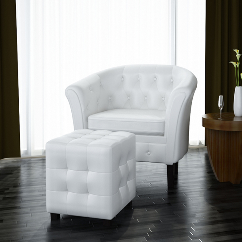 vidaXL Artificial Leather Tub Chair Armchair with Footrest White