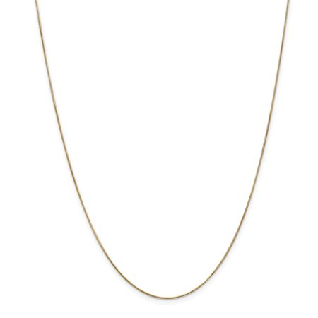 """14K Yellow Gold .65mm Round Snake Chain Necklace, 18"""""""