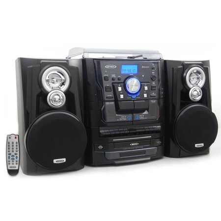 Crv Cd Changer (JENSEN JMC-1250 Bluetooth 3-Speed Stereo Turntable Music System with 3-CD Changer & Dual Cassette)