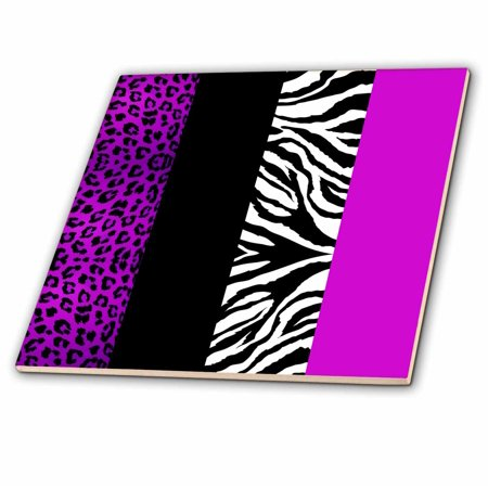 3dRose Purple Black and White Animal Print - Leopard and Zebra - Ceramic Tile, 4-inch