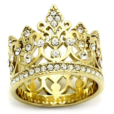 Gold Ip Stainless Steel Queen Royalty Crown Crystal Filigree Ring   Sizes 5 10