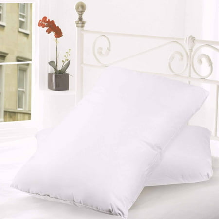 Feather Down Bed - Down and Feather Cotton Cover Premium Bed Pillow, 2-Pack