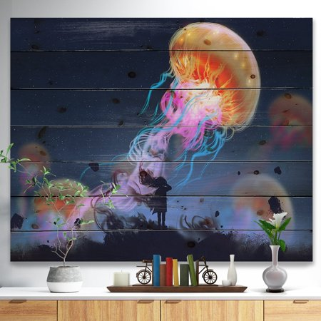DESIGN ART Designart 'Floating Giant Jelly Fish' Animals Painting Print on Natural Pine Wood - Blue ()