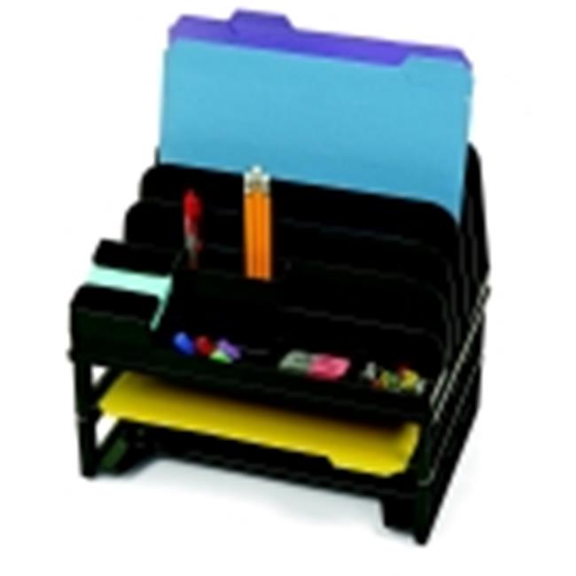 Officemate Side Load Sorter And Organizer With 2 Letter Tray - 13.5 x 9.25 x 12 in. - Black