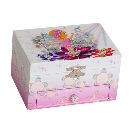 Ashley Girls' Musical Ballerina Fairy and Flowers Jewelry Box ()