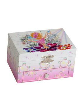 Ashley Girls' Musical Ballerina Fairy and Flowers Jewelry Box