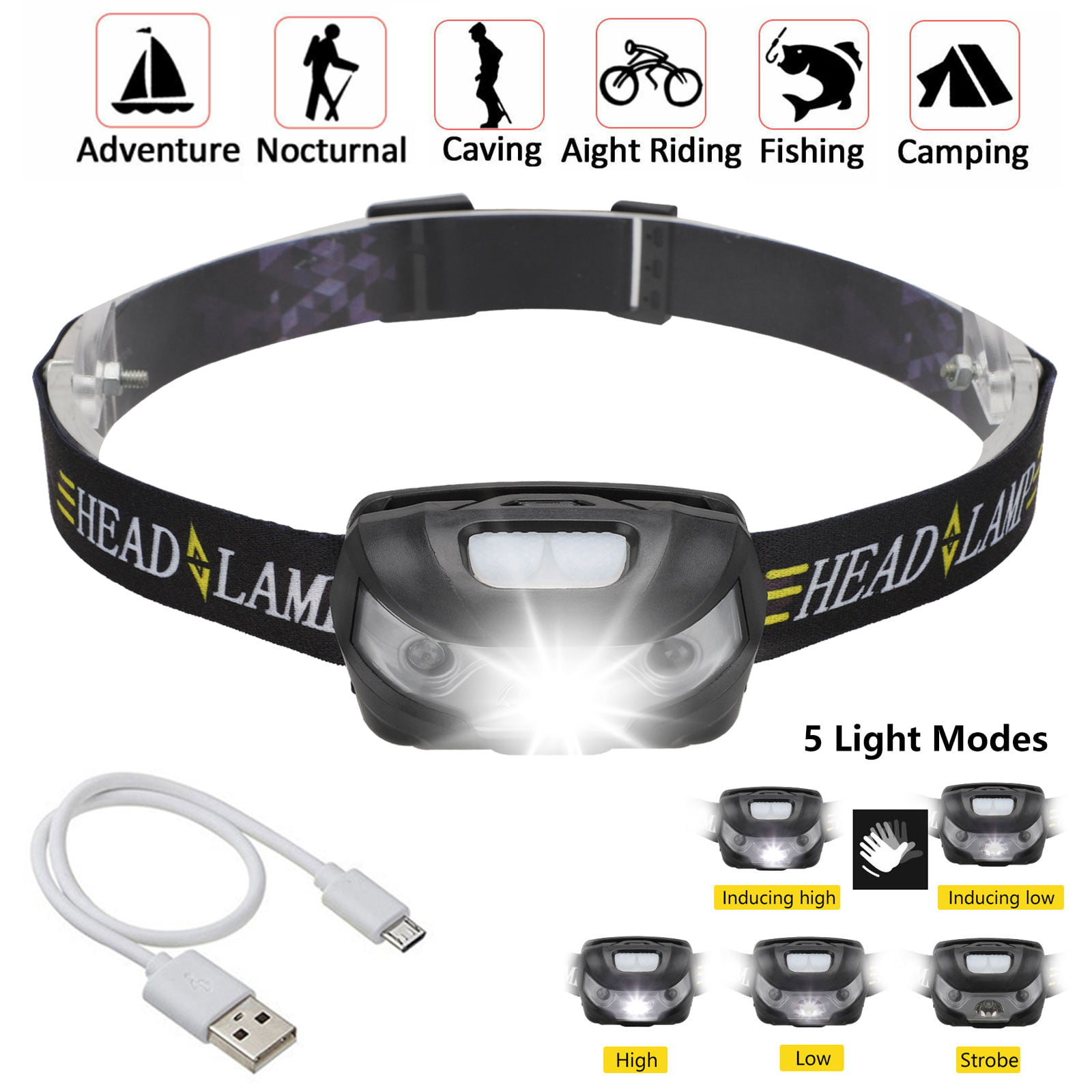 LED Headlight Super Bright Head Torch USB Rechargeable Headlamp Camping Fishing