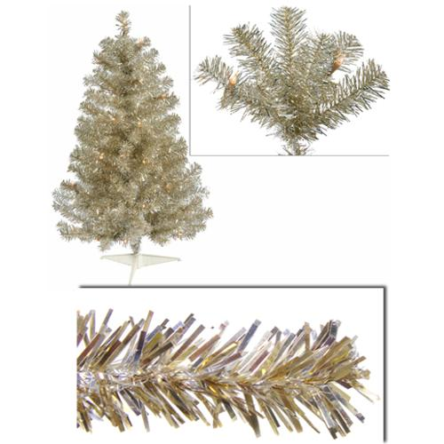 3' Pre-Lit Champagne Full Artifical Sparkling Tinsel Christmas Tree- Clear