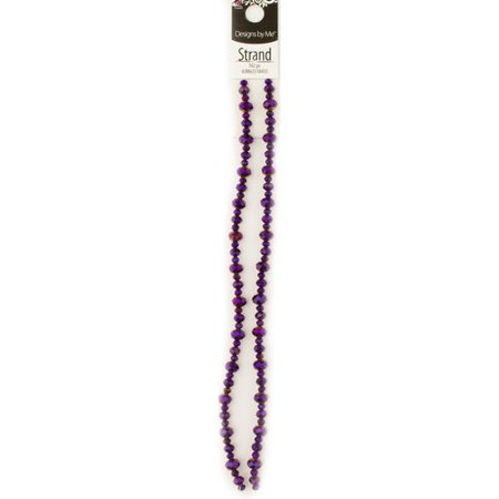 Cousin Glass Dark Purple Rondell Crystal Strand, 102 Piece