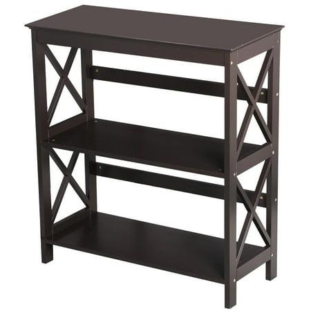 3 Shelf Wood Montego Bookcase Bookshelf X-Design Storage Shelves Display Rack Stand Shelving Units, Espresso