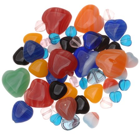 Czech Glass Heart Shaped Bead Mix Lot Assorted Colors And Sizes 1