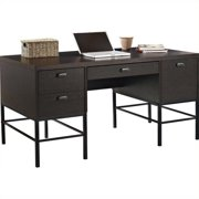 Altra Furniture The Manhattan Line Double Pedestal Office Desk in Espresso with Metal Legs