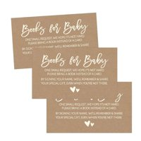 25 Rustic Books For Baby Request Insert Card For Girl or Boy Kraft Baby Shower Invitations or invites Cute Bring A Book Instead of A Card Theme For Gender Reveal Party Story Games, Business Card Sized