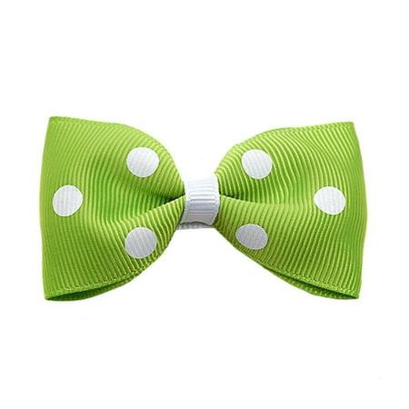 Lime Green White Polka Dot Girls Hair Clippie - Halloween Hair Clippies