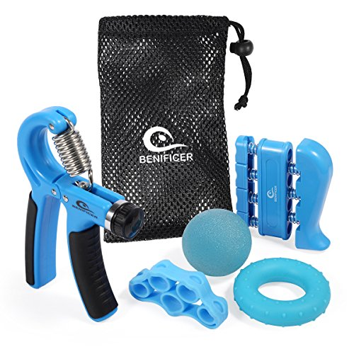 Hand Grip Resistance & Finger Stretcher w/ Therapy Ball & Ring Exerciser Set
