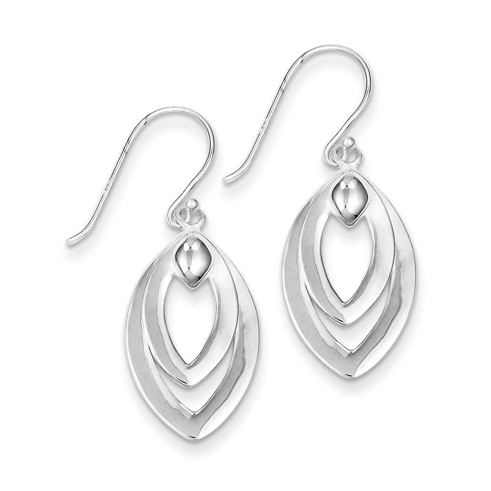 Sterling Silver Polished Moveable Drop Shepherd Hook Earrings (0.9IN x 0.5IN )