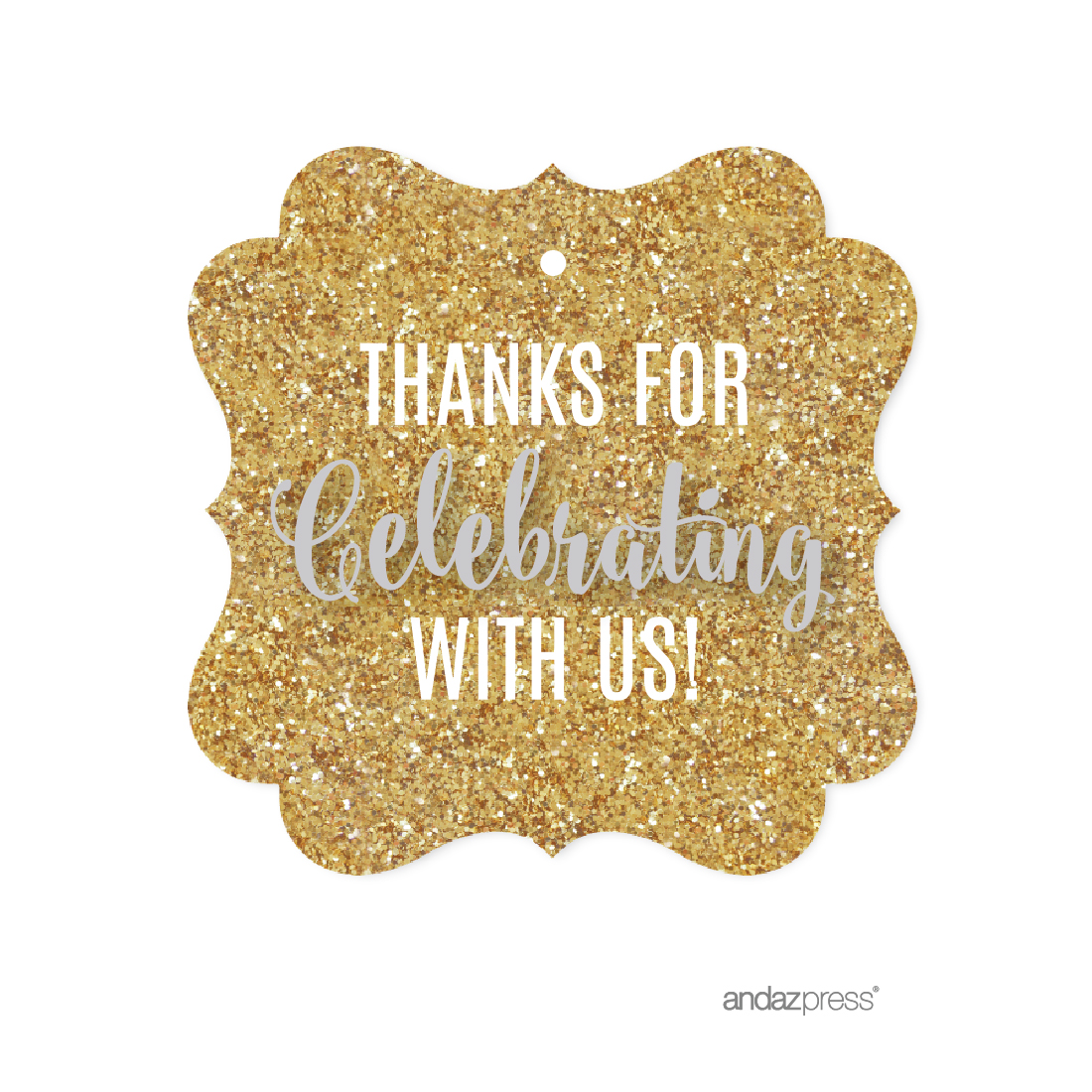 Signature Light Gray, White, Gold Glittering, Fancy Frame Gift Tags, Thanks for Celebrating With Us!, 24-Pack