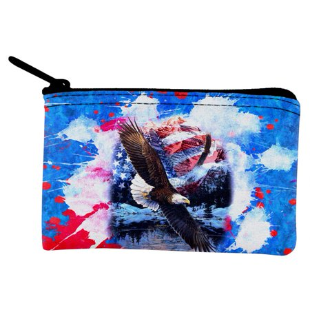 American Eagle Coin Ring (4th of July American Flag Bald Eagle Splatter Coin Purse )