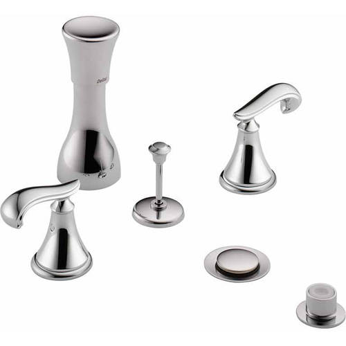 Delta Classic Bidet Fitting Kit Deck-Mounted Vertical Spray with Cassidy Metal Scroll Handles, Available in Various Colors