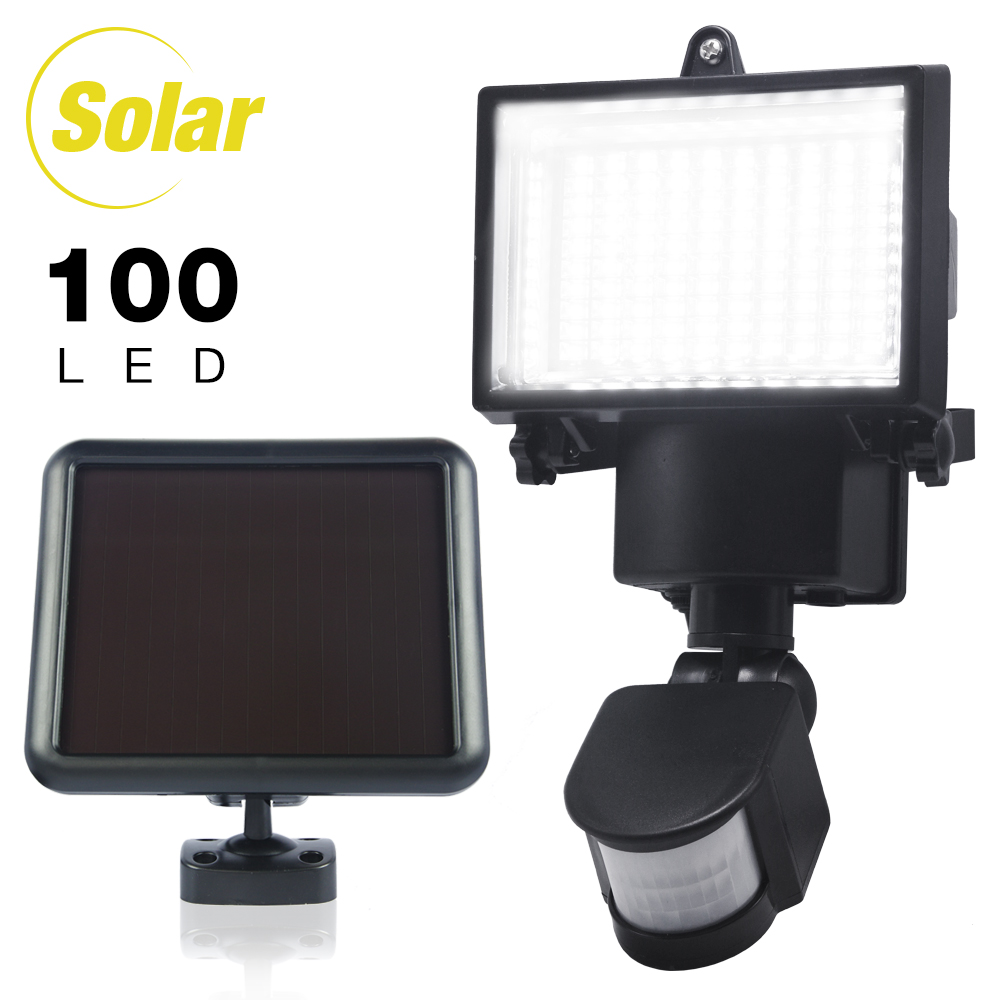 eTopLighting 100 LED Outdoor Security Motion Sensor Flood Light with Solar Panel for Porches, Walkways, Garages , WMLS2677