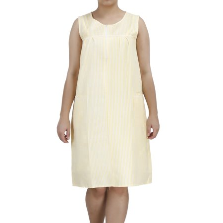 Women's Zip-Up Sleeveless Cotton House Dress by EZI