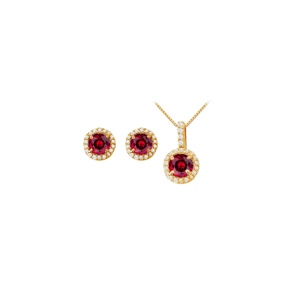 July Birthstone Ruby with CZ Halo Earrings and Pendant in 14K Yellow Gold - image 2 of 2