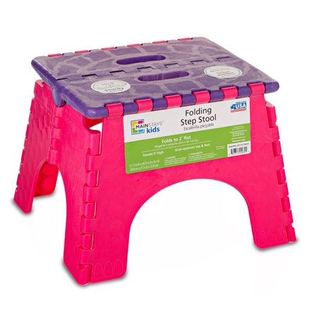 Mainstays 9 Quot Folding Step Stool Violet Pink Walmart Com