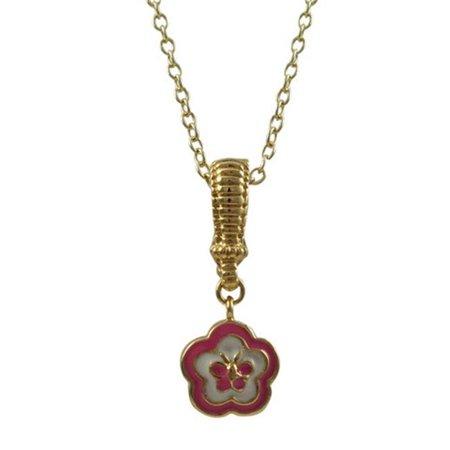 Dlux Jewels Brass & Pink Enamel Flower Gold Pendant - image 1 of 1