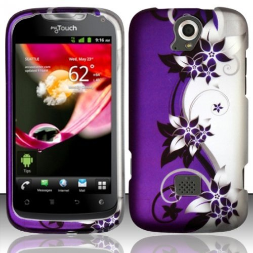 Design Rubberized Hard Case for Huawei myTouch Q U8730 - Purple Silver Vine