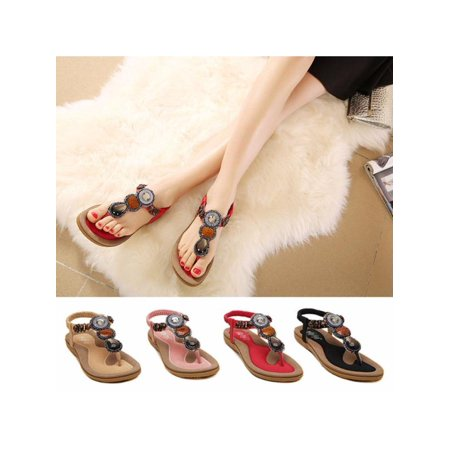 (Women Boho Gem Beads Sandals Flip Flop Thong Summer Beach Flat Slipper Shoes SZ)
