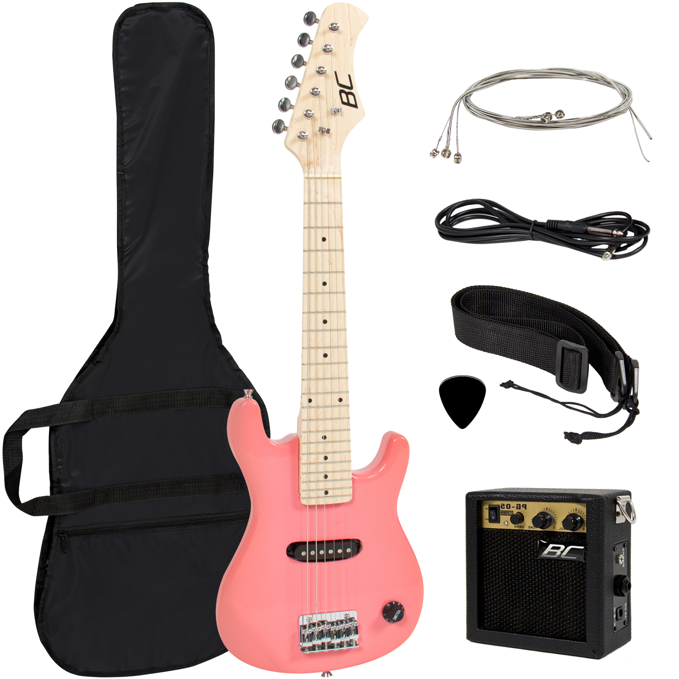 "Electric Guitar Kids 30"" Pink Guitar With Amp Case Strap and"
